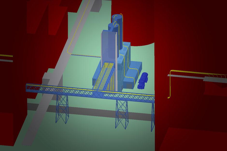Die Siloanlage (blau dargestellt) im Kraftwerk Schkopau
