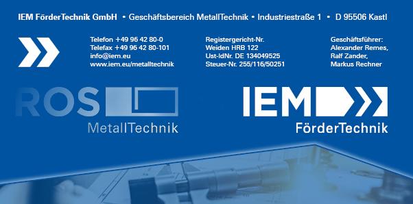 ROS MetallTechnik heißt jetzt IEM FörderTechnik GmbH - Geschäftsbereich MetallTechnik