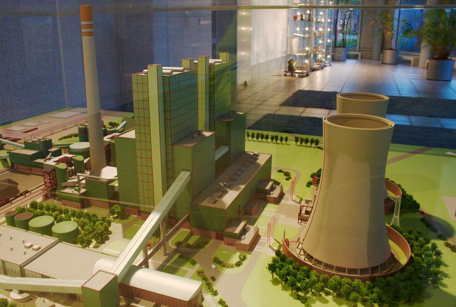 Modell des Kraftwerkes Schkopau, zu sehen in der Empfangshalle des Kraftwerkes.